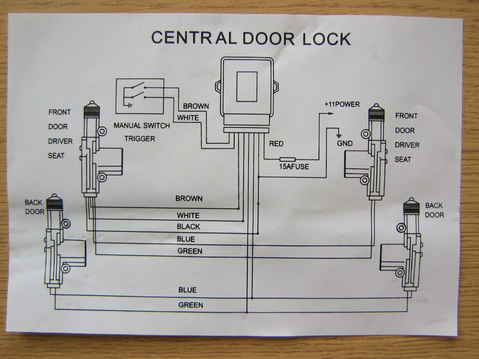 new central locking kit with 4 actuators for 2 or 4 door. Black Bedroom Furniture Sets. Home Design Ideas